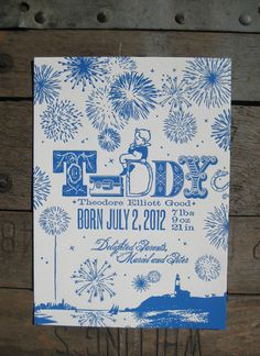 Letterpress Custom Design Fireworks Birth by colorquarry on Etsy, $5.00