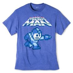 Men';s Mega Man Graphic Tee - Heather Blue