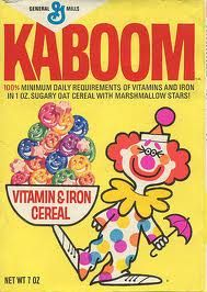 Kaboom Cereal - I loved this crap! It turned the milk different colors.