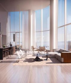 """""""""""The absence of alternatives clears the mind marvellously."""" 🍸No other options needed if this is home, image via Motion New York - Two Story House Design, Modern House Design, Modern Interior Design, Interior Architecture, Cool Apartments, Luxury Apartments, Luxury Homes, New York Penthouse, Luxury Penthouse"""