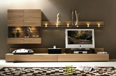 Hulsta Elea lighted wall unit Source by Living Room Wall Units, Living Room Furniture, Living Room Designs, Home Furniture, Living Room Decor, Modern Tv Wall Units, Muebles Living, Tv Wall Decor, Tv In Bedroom