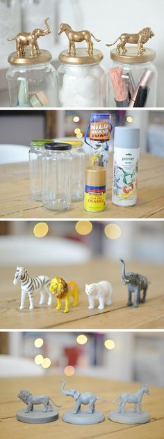 10 Brilliant DIY home Decor ideas, Check out the tutorial: #DIY Gold Animal Jars and more!