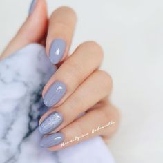 Perhaps you have discovered your nails lack of some fashionable nail art? Yes, recently, many girls personalize their nails with beautiful … Nagel Stamping, Nagellack Trends, Gray Nails, Pastel Blue Nails, Pastel Grey, Colorful Nails, Nude Nails, Nagel Gel, Accent Nails