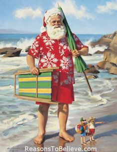 Sun, Surf and Santa - canvas giclee print | Santa Claus Figurines and Hand Carved Wooden Santas