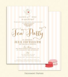 bridal shower Invitation  tea party invitation by FreshmintPaperie, $19.50