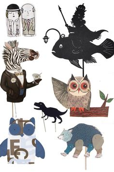 We love puppets and here are a few our favorites. man and woman finger puppets- Pintassilgo Prints Morskoi Tsar laser cut puppet -Isabellas Art Zebra drinking a Martini - Crank Bunny Owl - Pin Pals Bear- Shak-Shula Dinosaur shadow puppet-...