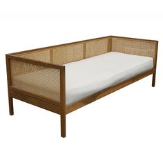 Mid Century Walnut and cane daybed/sofa