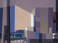 """""""California Industrial,"""" Charles Sheeler, oil on canvas, 25 x Yale University Art Gallery. Inspirational Artwork, Art And Illustration, Illustrations, Cd Cover Art, City Sketch, Painting Collage, Pebble Painting, Urban Art, Urban Life"""