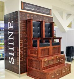 Nothing beats a great shoeshine. Porter Chair, French Provincial Chair, Shiny Shoes, Stand Design, Cool Chairs, Art Boards, Cool Furniture, Liquor Cabinet, Storage