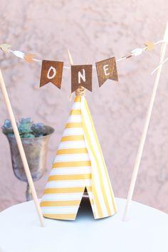 Navajo Theme. Teepee. Cake topper. ONE bunting. DIY. Photo Credit: Cori Kleckner Photography