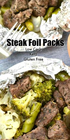 Keto Steak Foil Packets These garlic and herbs Keto Steak Foil Packs make a great weeknight dinner with minimal clean up! Serve on it's own or with a side salad! Steak Sides, Steak Dinner Sides, Dinner Menu, Keto Dinner, Dinner Recipes, Clean Eating, Healthy Eating Tips, Healthy Food, Steak Foil Packets