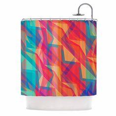 "Miranda Mol ""Triangle Opticals"" Pink Multicolor Shower Curtain"