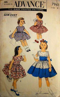 Vintage 1950s Advance 7961 Girls Dress Pattern by Denisecraft, $18.99