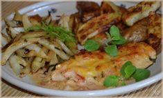 Zapečená kuřecí prsa, fenykl a pečené brambory