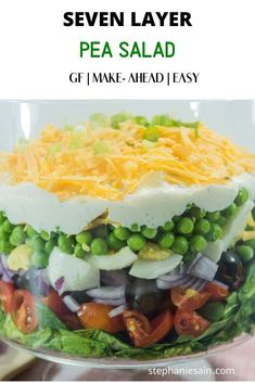 This seven layer pea salad recipe is chocked full of an array or fresh veggies and cheese. Great to serve at holiday gatherings, picnics or potlucks. Pea Salad Recipes, Healthy Salad Recipes, Layered Salad With Peas, Glass Serving Bowls, Warm Salad, Healthy School Lunches, Kinds Of Salad, Potlucks, Picnics
