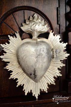 Vintage Sacred Heart aflame Inspired Lockets