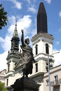 Inner City of Budapest, Sandor Petofi statue in the foreground (Hungary)