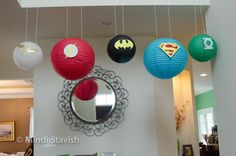 Justice League birthday party paper lanterns
