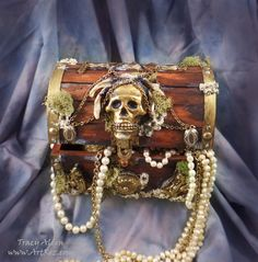Pirate Treasure Chest with Relics & Artifacts resin blanks by Tracy Alden
