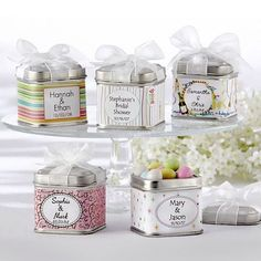 Personalized Square Favor Tins by Beau-coup $145.50 for 5 dzn  Initials Letterpress & Monogram Mint