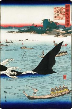 Traditional Japanese Art, Japanese Painting, Woodblock Print, Whale, Prints, Animals, Whales, Animales, Animaux