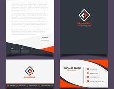 Orange and black corporate identity design free vector Letterhead Business, Letterhead Design, Letterhead Template, Stationery Templates, Stationery Design, Corporate Identity Design, Branding Design, Logo Design, Logo Inspiration