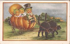 Unused Whitney Made Postcard Pumpkin Black Cats Witch Carriage Halloween | eBay
