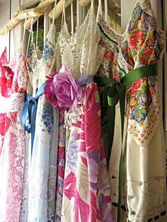 Pink floral vintage slip dress Prairie Flower by LilyWhitepad, $150.00