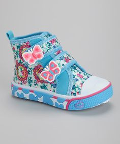 LOVE LOVE LOVE THIS!   Another great find on #zulily! Light Blue Flower & Butterfly Hi-Top Sneaker #zulilyfinds