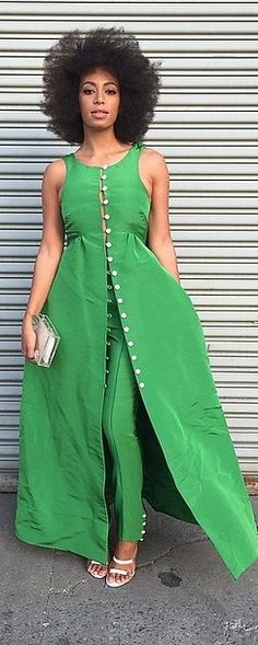 Solange struck a pose in her kelly green Fall 2015 Rosie Assoulin set.