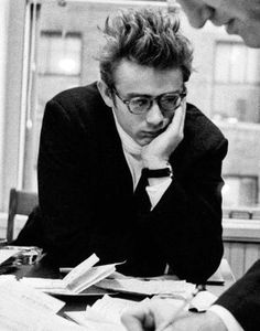James Dean in the office of his agent Jane Deacy, 1955.photographed by Dennis Stock