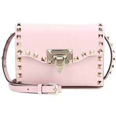 Valentino Valentino Garavani Rockstud Leather Shoulder Bag ($1,090) ❤ liked on Polyvore featuring bags, handbags, shoulder bags, crossbody bags, pink, leather crossbody, leather cross body purse, leather handbags, pink crossbody and valentino crossbody