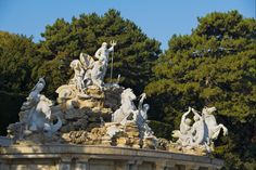 The Neptune Fountain in the Schönbrunn Palace Park is situated at the foot of the Schönbrunn Hill. Neptune with his trident dominates the centre of the figural group. Heart Of Europe, Vienna Austria, Things To Know, Dream Vacations, Falling In Love, Statue Of Liberty, Fountain, Palace, Madrid