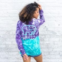 Classic Fit Turquoise & Purple Ombre Tee – Ivory Ella