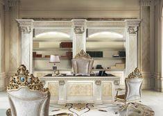Luxury office desk, Hand carved desk for manager office Bijoux Office Luxury Office Chairs, Luxury Chairs, Luxury Furniture, Furniture Design, Office Interior Design, Interior Exterior, Office Interiors, Luxury Interior, Classic Office Furniture