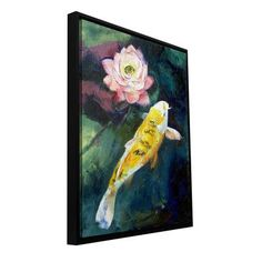 """ArtWall 'Koi and Lotus Flower' by Michael Creese Framed Painting Print on Wrapped Canvas Size: 8"""" H 10"""" W"""