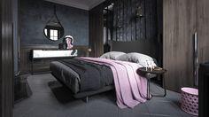 Marvelous bedroom design with dark color.