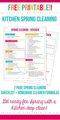 Get your Spring Cleaning started with the Kitchen spring cleaning checklist. Deep clean and organize your kitchen to get ready for spring with a 2 page spring cleaning printable plus homemade cleaning product formulas! #UnleashClean AD