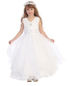 Girls Dress Style 0339 - Sequin Organza Dress with Tiered Skirt and Matching Bolero in Choice of Col  Glitz and Glam are just a couple of words that describe this festive and fun style. This is truly a versatile  dress that can be worn over and over again. Watch your little one fall in love with this beautiful layered organza dress with stunning sequin accents.  http://www.flowergirldressforless.com/mm5/merchant.mvc?Screen=PROD&Product_Code=CB_0339W&Store_Code=Flower-Girl&Category_..