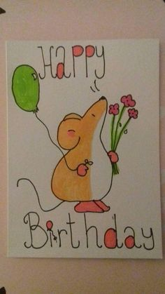Happy Birthday Mouse Balloon and Flowers Happy Birthday Drawings, Birthday Card Drawing, Cool Birthday Cards, 1st Boy Birthday, Etsy Store, Cardmaking, Diy Cards, Doodles, Gadget
