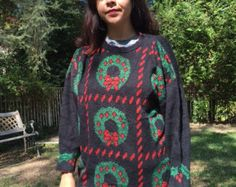 Ugly Christmas sweater, knit sweater, XL, green, red, black, wreaths, Sparkly