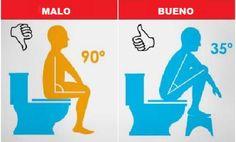 La forma correcta de ir al baño. La forma incorrecta puede afectar a tu salud .