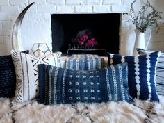 Authentic, African, Indigo, Cloth, Global, Textile, Pillow, Cover, with Raw, Matka, Silk, Mudcloth, Mud cloth, Vintage