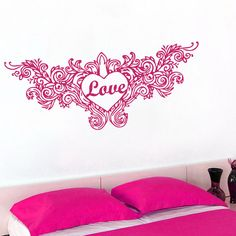 Wall Decals Heart Love Wings Decal Vinyl Sticker Nursery Family Bedroom Home Decor Interior Design Art Murals Ms502