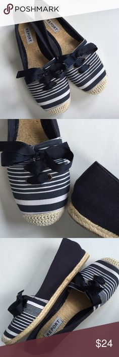 EUC Report flats Excellent condition; Darling navy/white striped canvas uppers with ribbon tie. The only sign of wear is on the soles. Smoke-free/pet-free home. Report Shoes Flats & Loafers