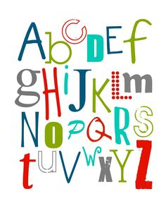 Free ABC Printable - this would be cute in a frame on top of Mason's dresser.
