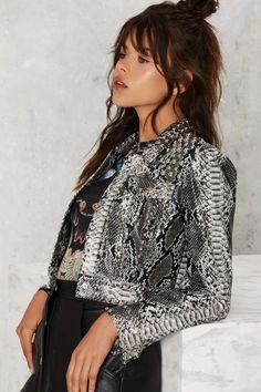 Nasty Gal Python Icon Studded Jacket - Newly Added | Moto + Leather | Jackets + Coats | Jackets + Coats