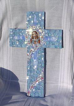 Blue Cross | China pieces, glass pebbles, blue glass, iridiu… | Flickr