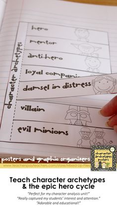 Teach mythological archetypes and the epic hero journey cycle with examples from Star Wars, Harry Potter, Lord of the Rings, and other popular literature. These colorful posters look great printed to display on a bulletin board or projected onto an interactive whiteboard. Students can take notes on the coordinating interactive notebook graphic organizers. Use the assessment with any novel to have students cite evidence from the text for archetypes in their reading. -- from Mixed-Up Files