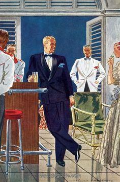 Black Tie Guide Black Dinner Jacket and tux pants Vintage Gentleman, Dapper Gentleman, Vintage Men, Retro Vintage, Fashion Images, Fashion Art, Mens Fashion, Classic Fashion, Fashion Illustration Vintage